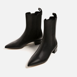 Zara - Stretch Leather Ankle Boots ($159)