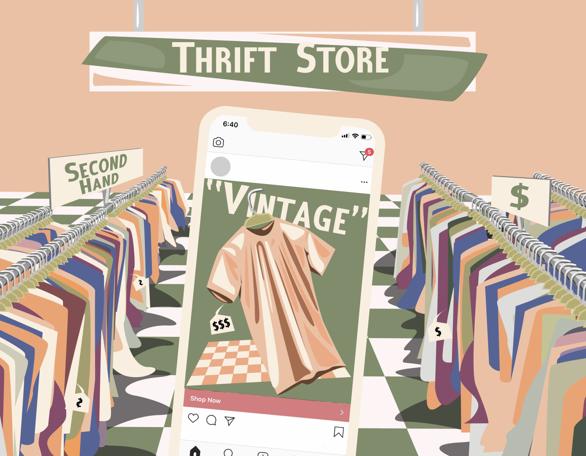"""Illustration of a phone featuring an Instagram post of a tee shirt labelled """"Vintage"""" with a high price tag. The background depicts a thrift store with racks of lower price, second hand clothing."""