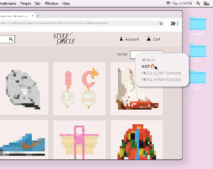 """Illustration of an e-commerce website displaying various pixelated clothing and accessory items. A mouse interacts with a button that reads """"HOT""""."""