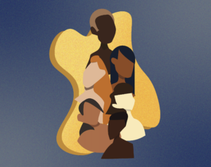 Abstract illustration of four individuals with various skin tones, overlapping each other atop a blue background.