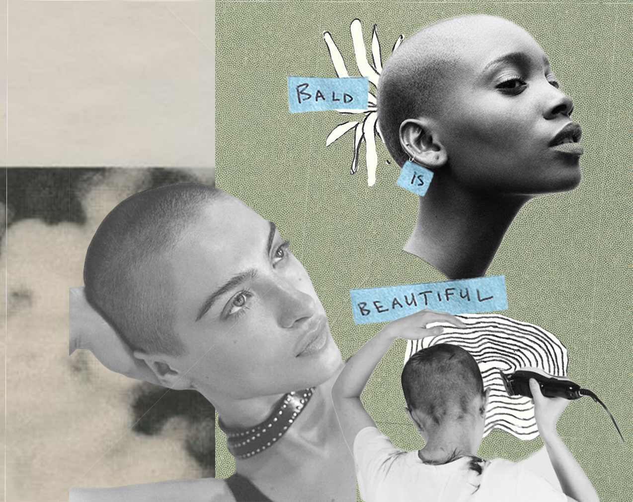 """Collage with three photographs of women with shaved heads and text that reads """"BALD IS BEAUTIFUL"""""""