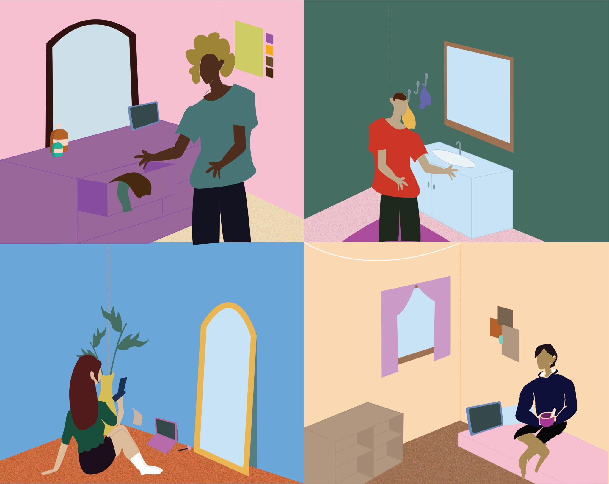 Split illustration depicting four individuals getting ready at home.