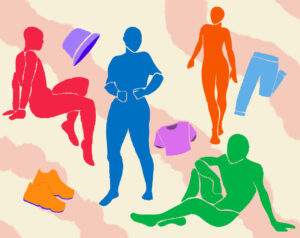 Illustration of colorful androgynous figures and articles of clothing.
