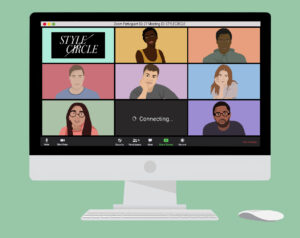 Illustration of a desktop computer with Zoom open, showing seven individuals on camera in a gallery view.