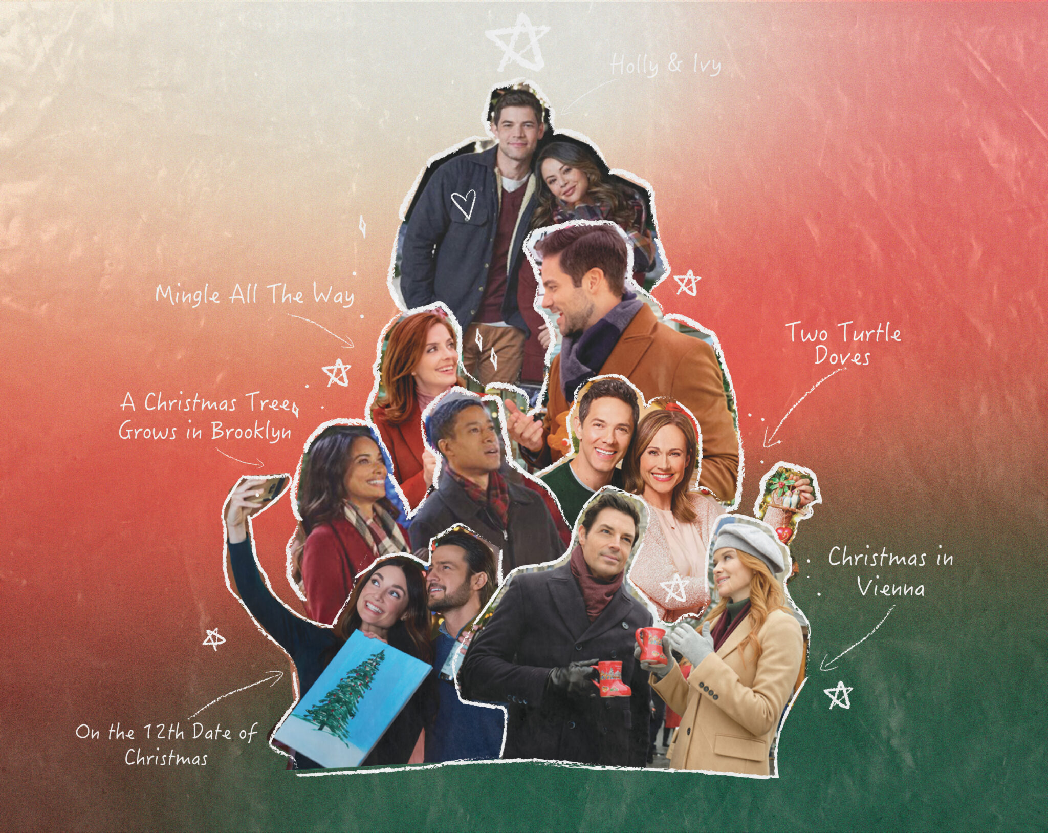 Collage featuring still images from six Hallmark Christmas movies.