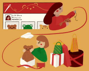 Illustration of a person sewing a teddy bear, connected to a child opening a gift box with the bear. The top left corner depicts an Etsy page.