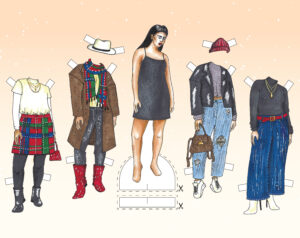 Illustration of a paper doll with fall/winter outfit choices on either side of it.