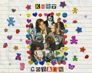 A 90's-themed collage featuring photographs of Kurt Cobain, surrounded by colourful stickers.