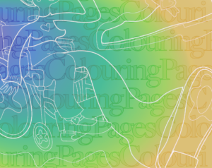 """Text reading """"Colouring Pages"""" overlaid with an expressive illustration of a figure on a colour gradient background."""