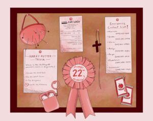Illustration of a cork board with various objects pinned to it, including a badge, sewing pins, and a cross necklace.