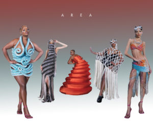 A collection of images from the runway representing modern couture, atop a gradient background.