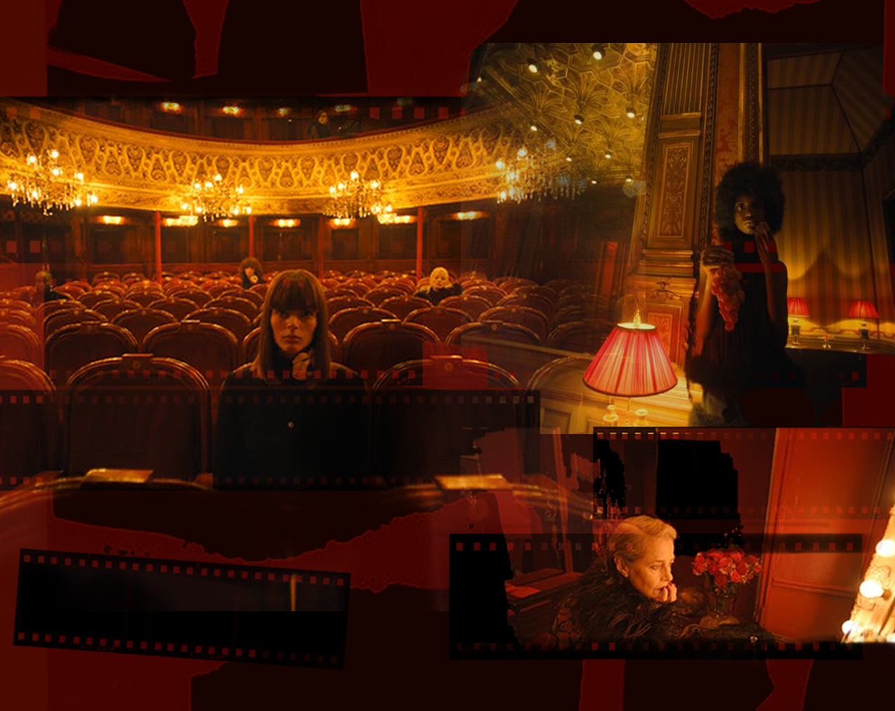 A digital collage with images from Saint Laurent's Summer of 21 film