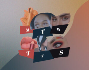 A collage of six popular TikTok beauty hacks, accompanied by labels for the days of the week.
