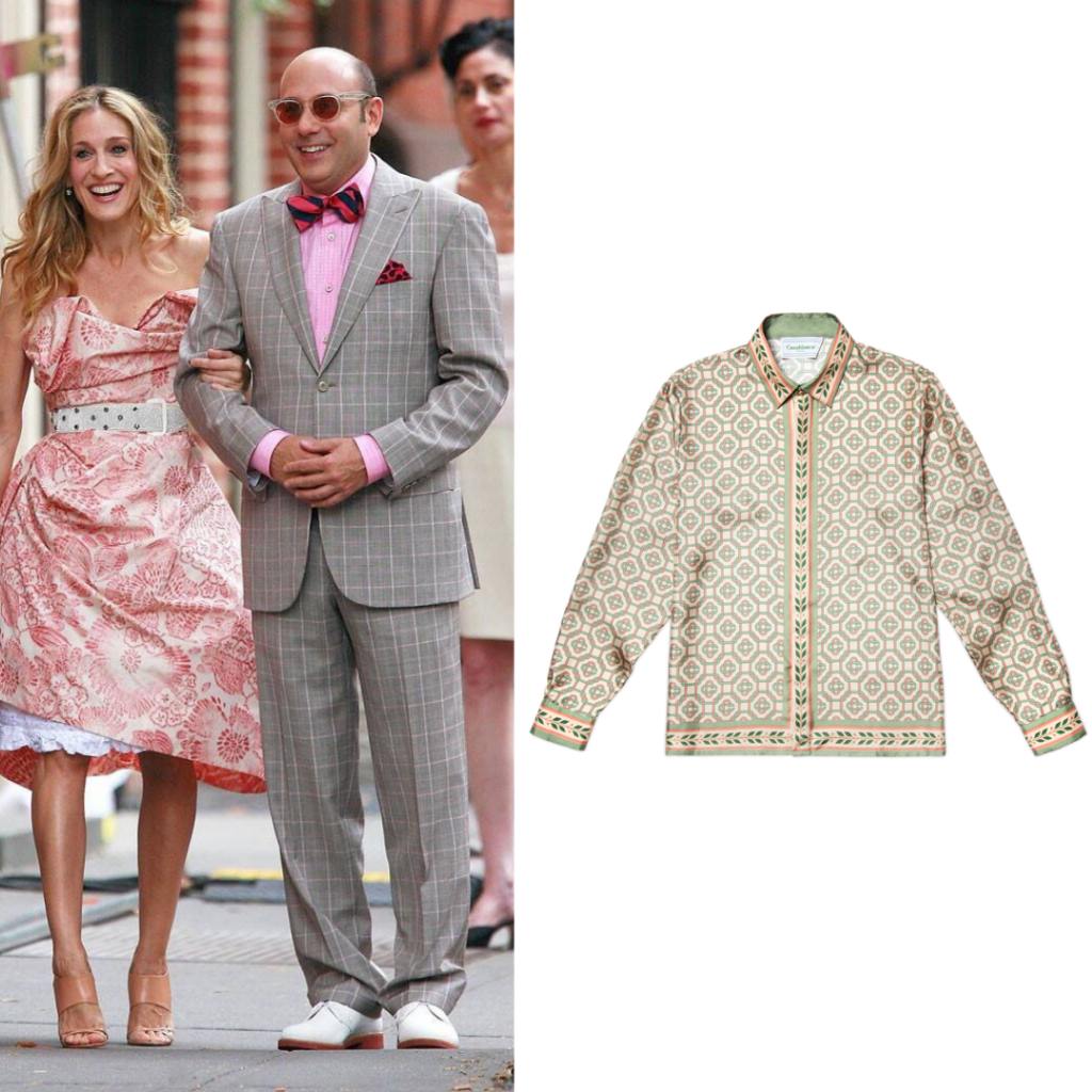 To the left: Stanford and Carrie; to the right: Light Laurel Monogram Silk Shirt, by Casablanca