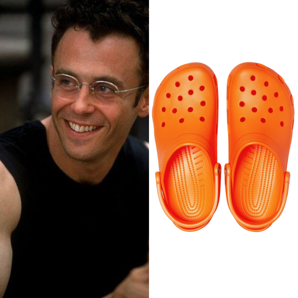 To the left: Steve; to the right: orange Crocs