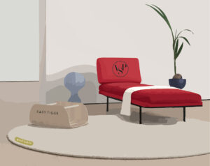 Illustration of a home minimalist space, featuring a red seat, round white rug and a potted plant.