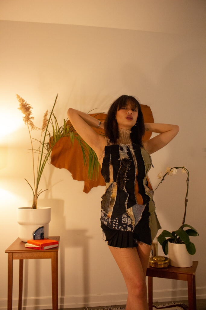 Recycled Patchwork Dress, Sustainable Collection 2021. Front View.