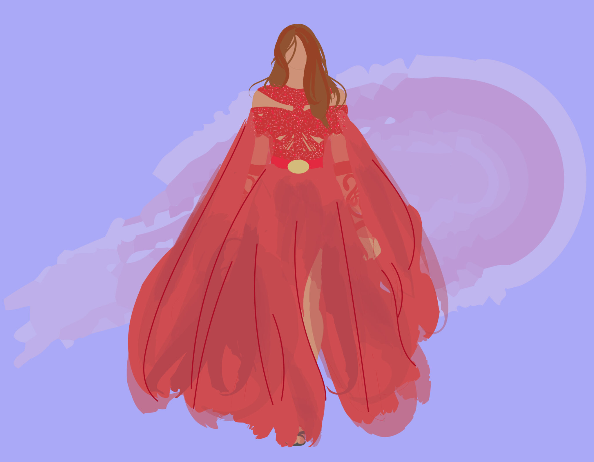 Illustration of a female figure dressed in an Egyptian-inspired red gown, embellished with a gold belt.